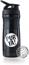 PURYA! Blender Bottle Sportmixer Bisphenolfrei, schwarz 800 ml